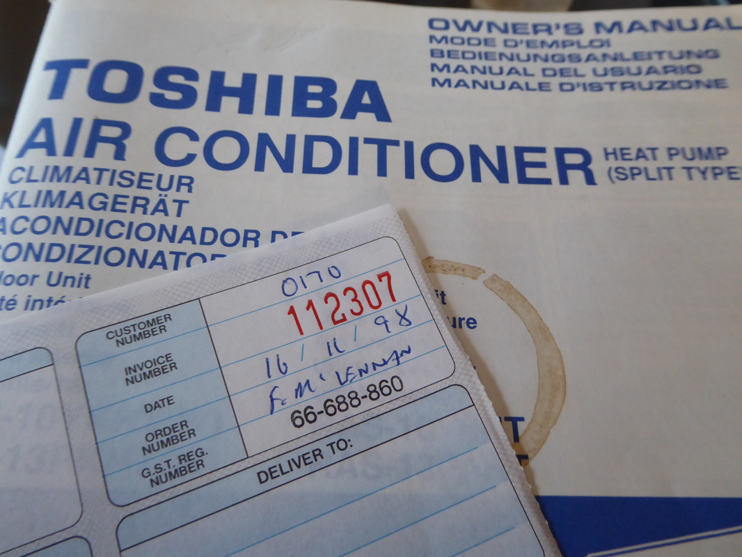 Check out the date on the original heat pump installation invoice. Installed in Christchurch in November 1998.