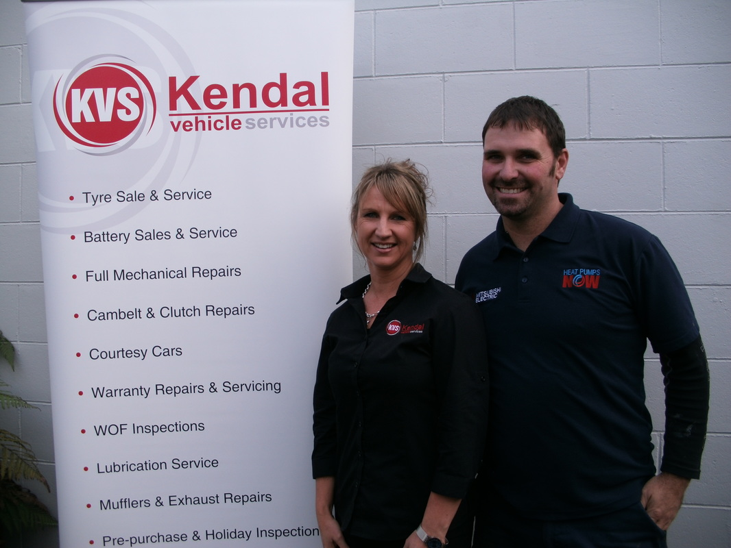 Director of Kendal Vehicle Services Carol Bradley, with Heat Pumps NOW Director Blair Ashdowne.